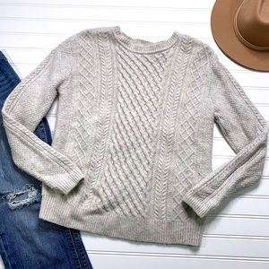 LEVIS cable knit gray & cream wool sweater